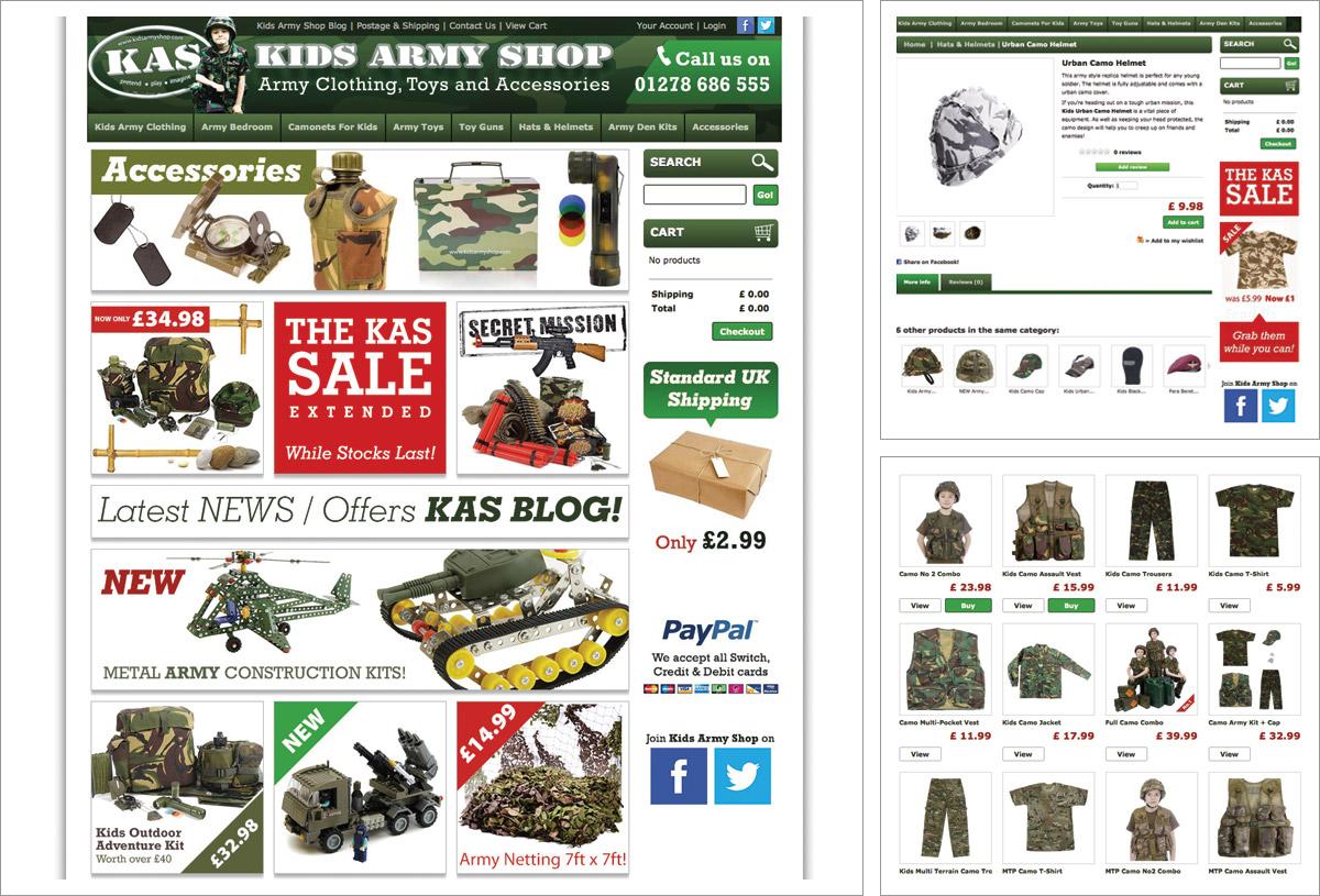Kids Army Shop Website Web Designer Bromsgrove