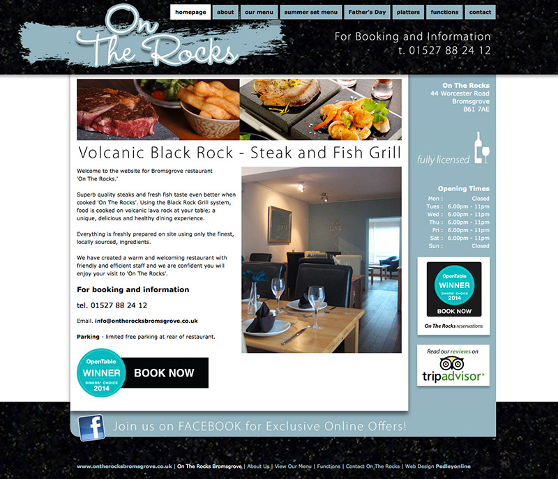 On The Rocks Bromsgrove Restaurant Website