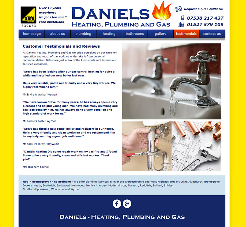 Daniels Heating Website