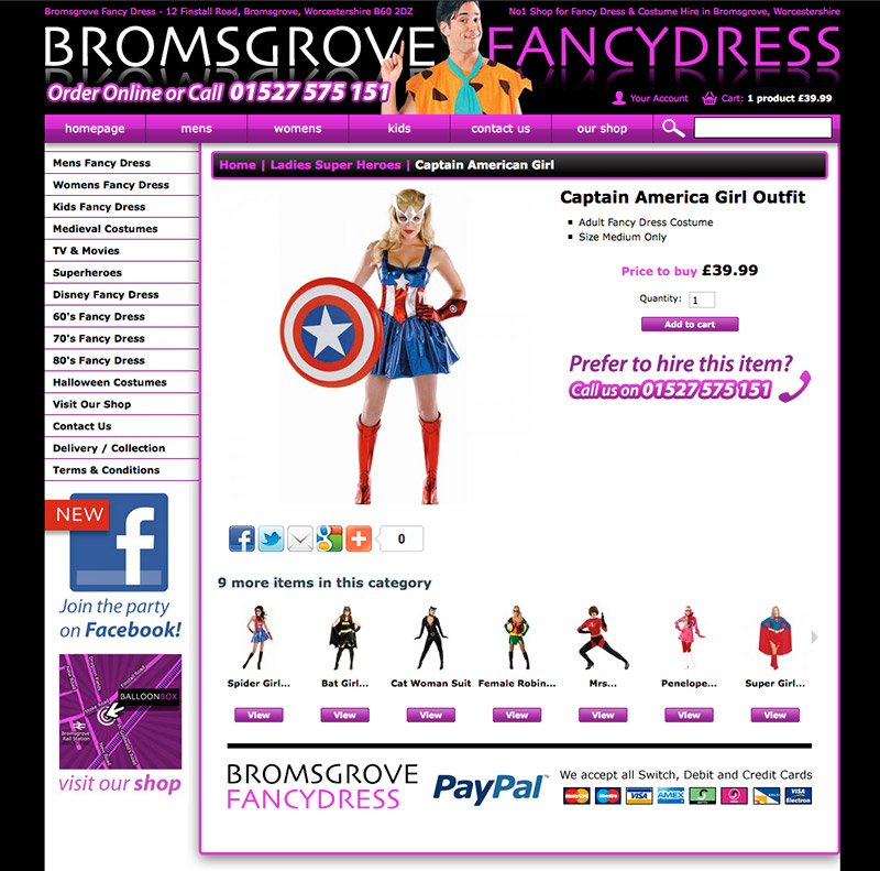 Bromsgrove Fancy Dress E-commerce Website