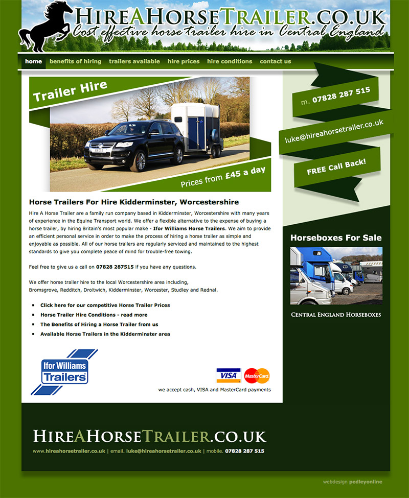 Hire a Horse Trailer Website