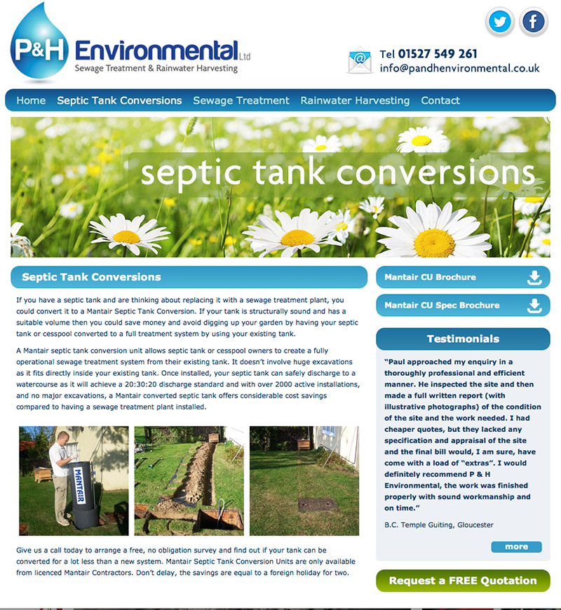 P&H Environmental Ltd Website