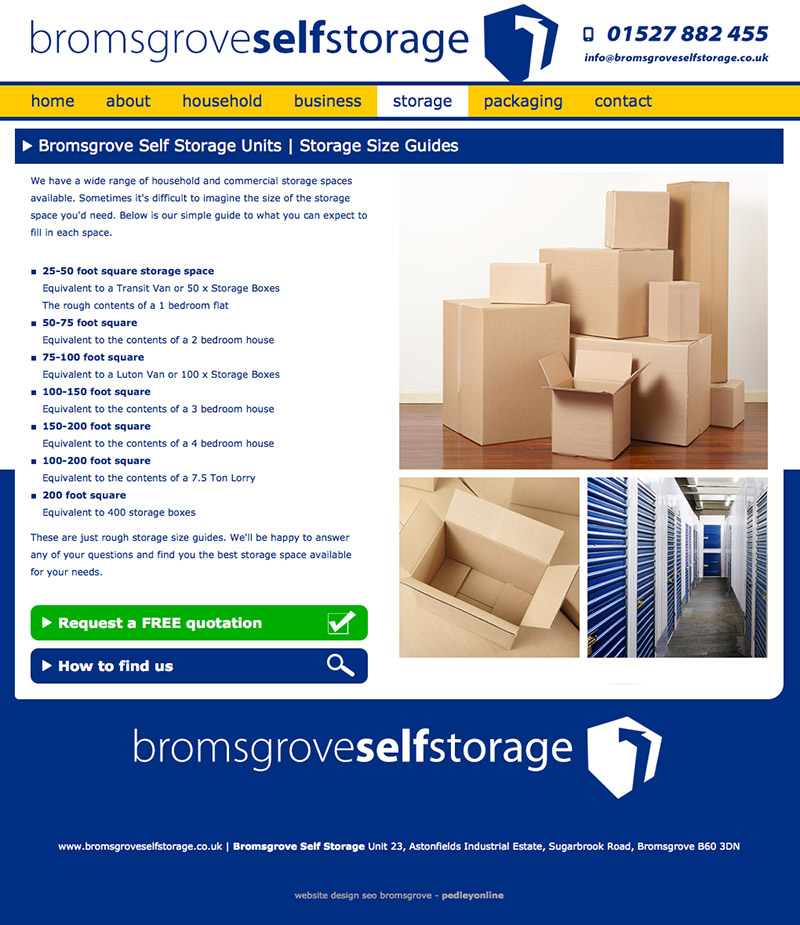 Bromsgrove Self Storage Website