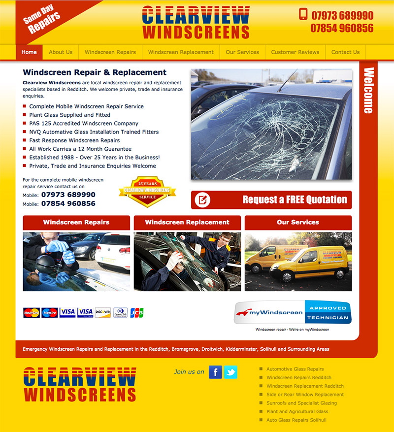 Clearview Windscreens Website
