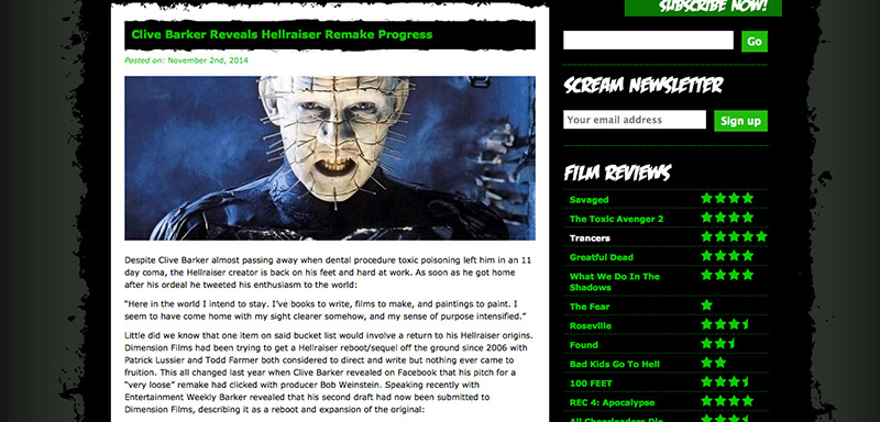 Scream Horror Magazine Website