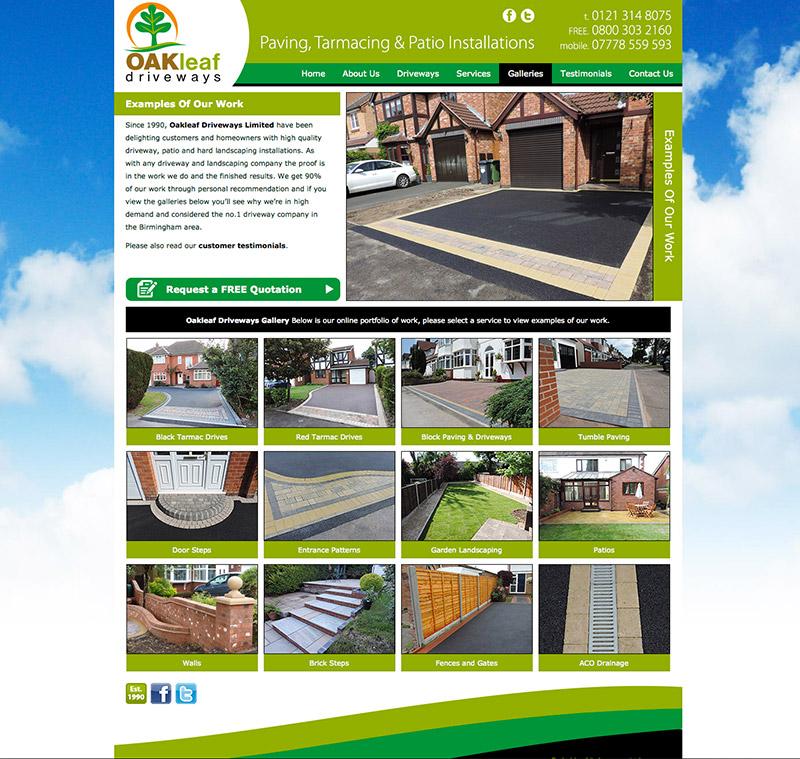 Oakleaf Driveways Website