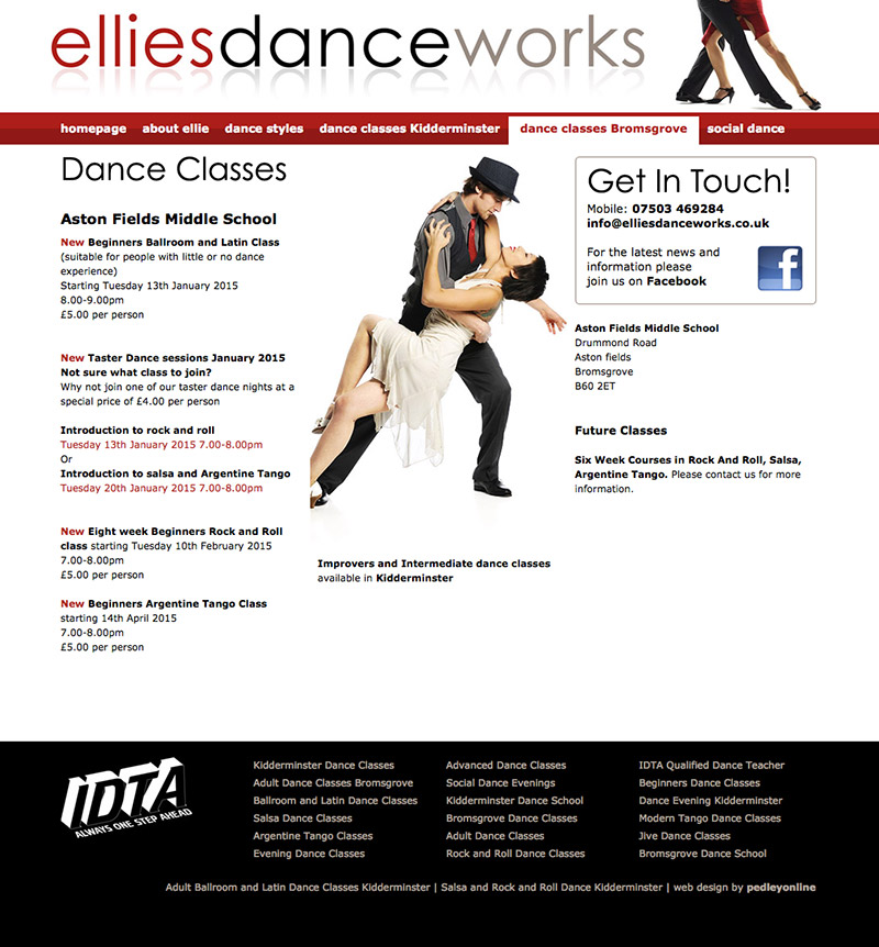 Ellie's Danceworks Bromsgrove Website