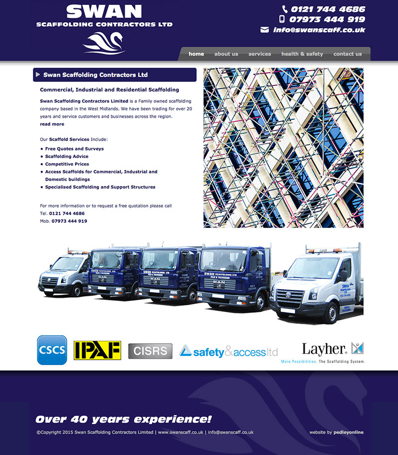 Swan Scaffolding Solihull New Website