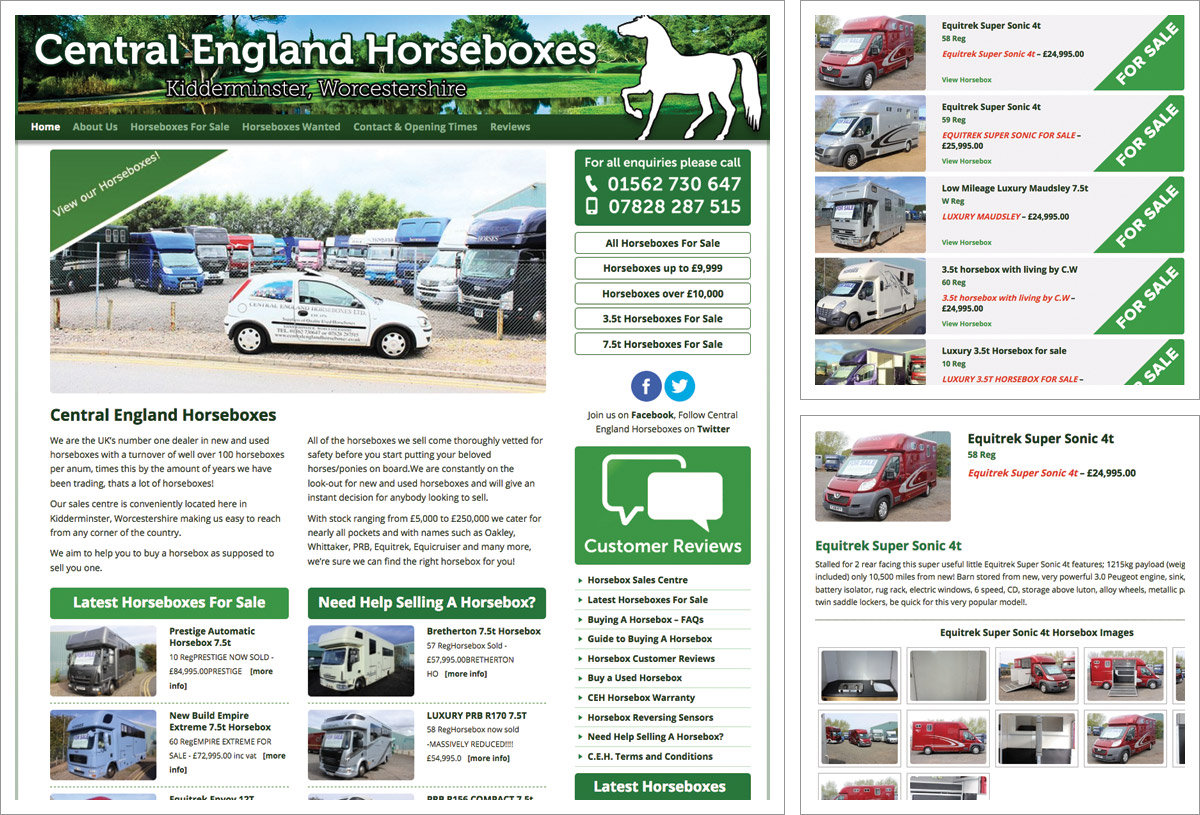 Central England Horseboxes Website