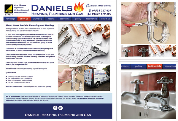 Daniels Heating Bromsgrove Website