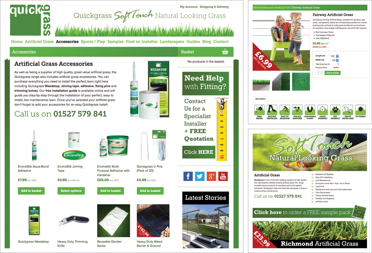 Quickgrass e-Commerce Artificial Grass Website