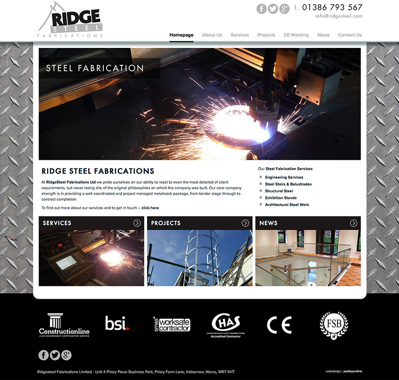 Ridge Steel Website in Our Web Design Portfolio
