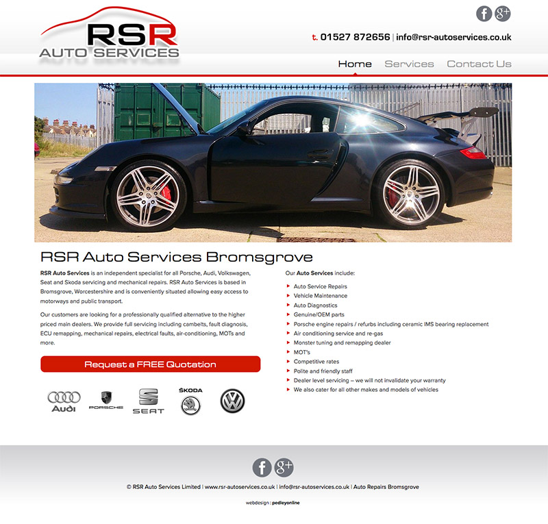 RSR Auto Services Bromsgrove Website