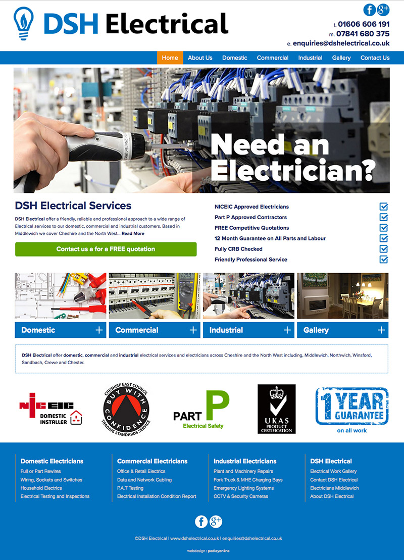 New website for DSH Electrical