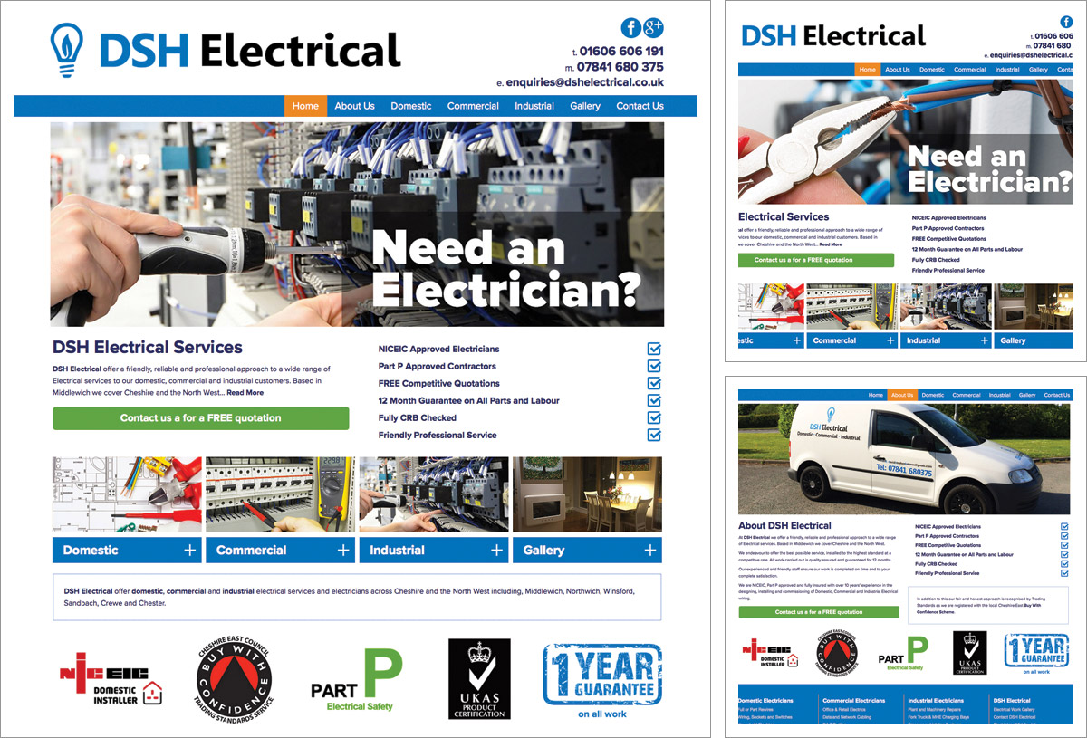 Tradesman Website Bromsgrove Example Electricians Website
