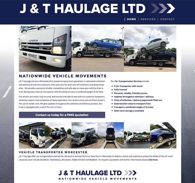 J & T Haulage Limited New Website