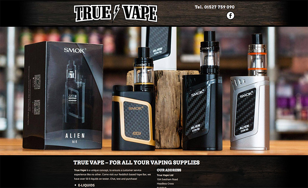 True Vape Redditch Website