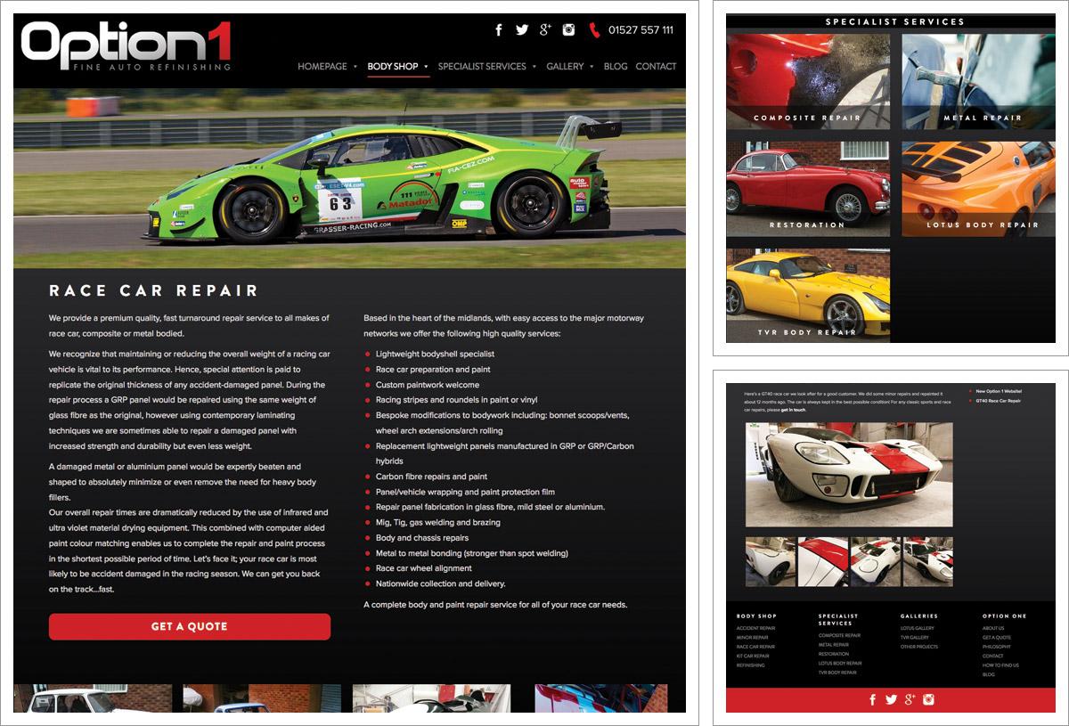 Option 1 Sports Cars Bromsgrove Website