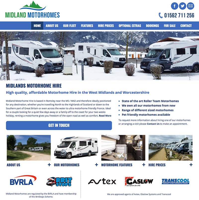 Midland Motorhomes Website