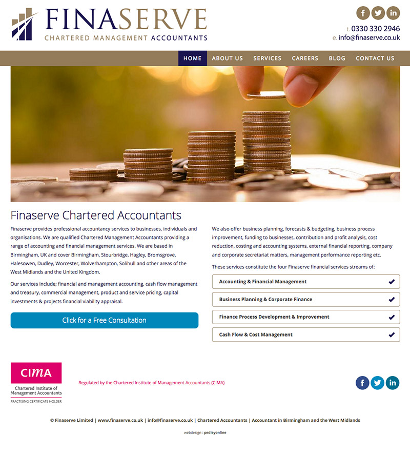 New brochure style website for Finaserve