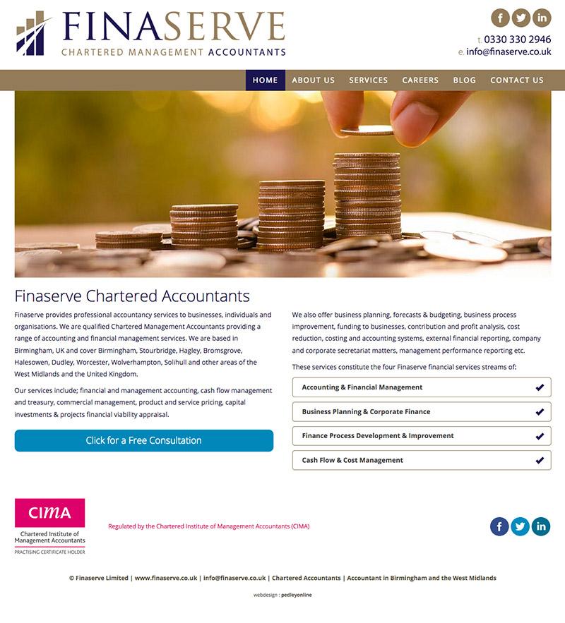New brochure style website for Finaserve