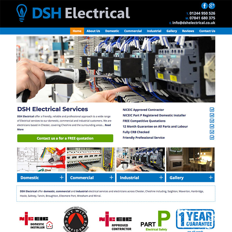 Website development for DSH Electrical