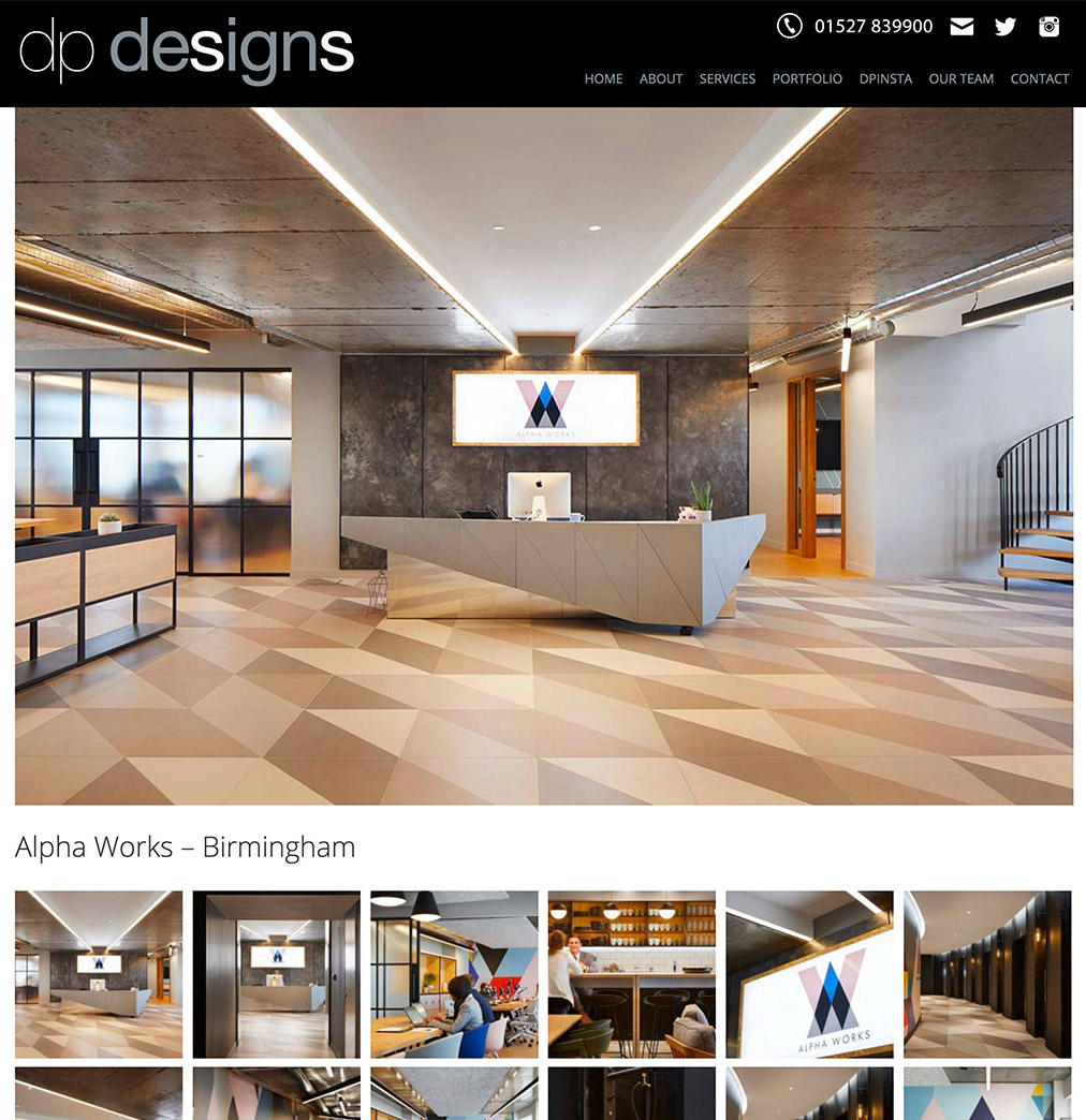 DP Designs website with online portfolio