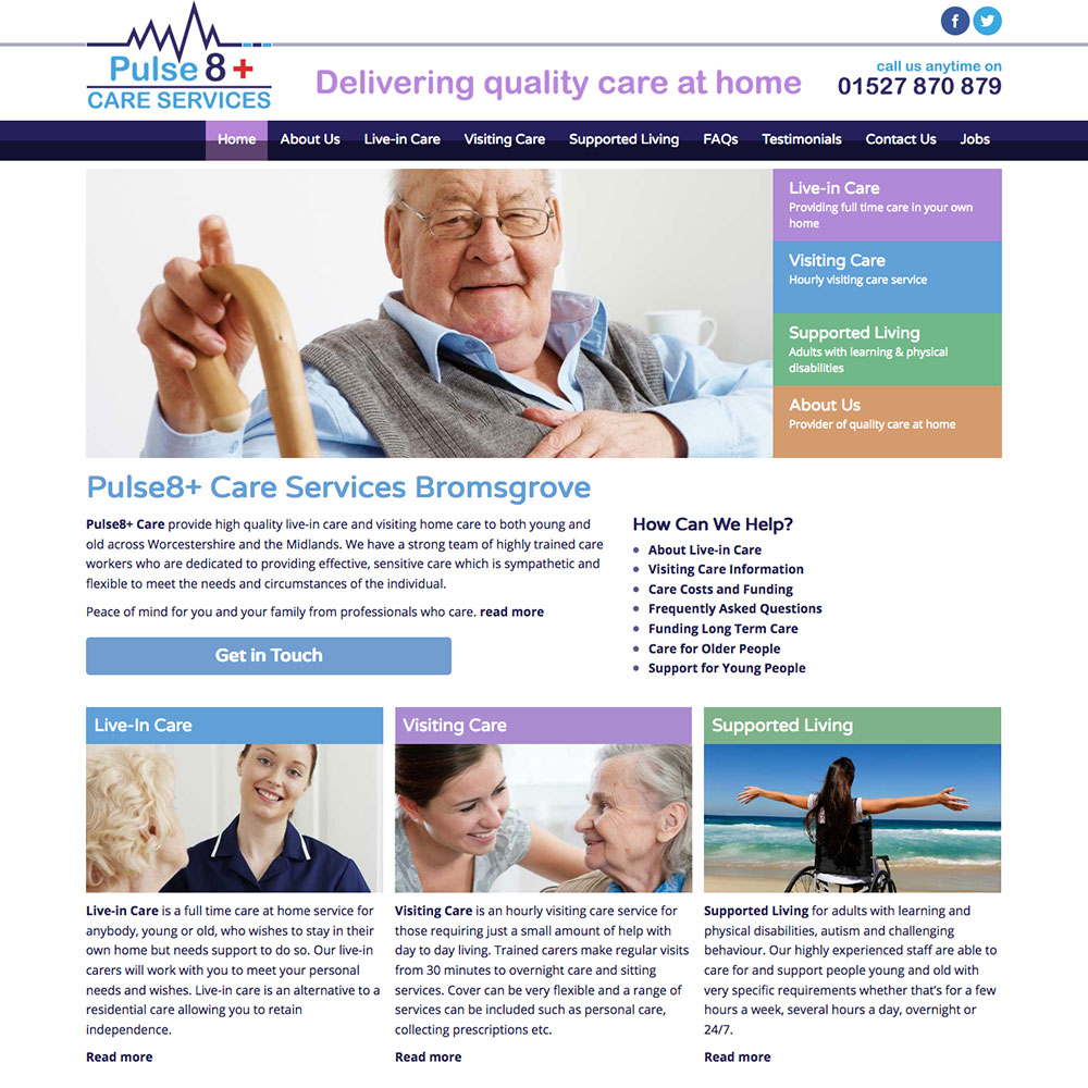 New mobile friendly responsive website for Pulse 8 Care Bromsgrove