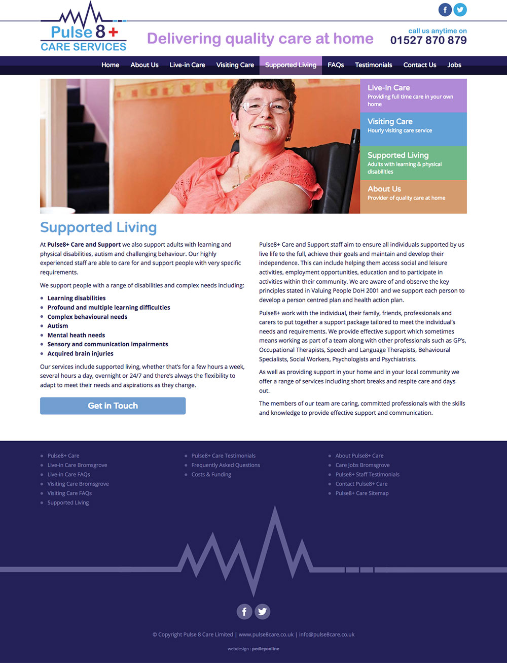 Mobile friendly website for Pulse 8 Care Bromsgrove