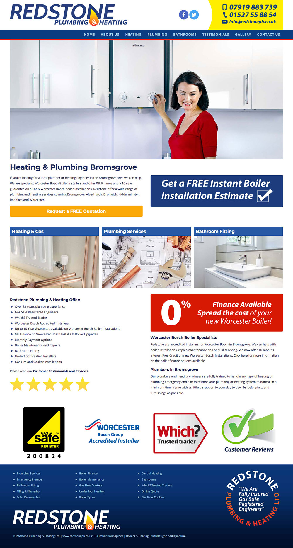New website for Redstone Plumbing and Heating