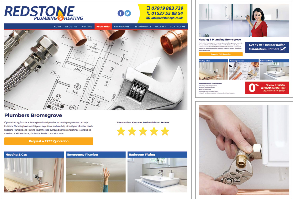 New responsive website for Bromsgrove plumber and heating specialists Redstone