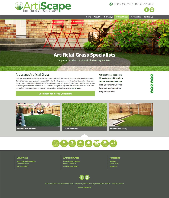 Artiscape Driveways and Artificial Grass Websitew