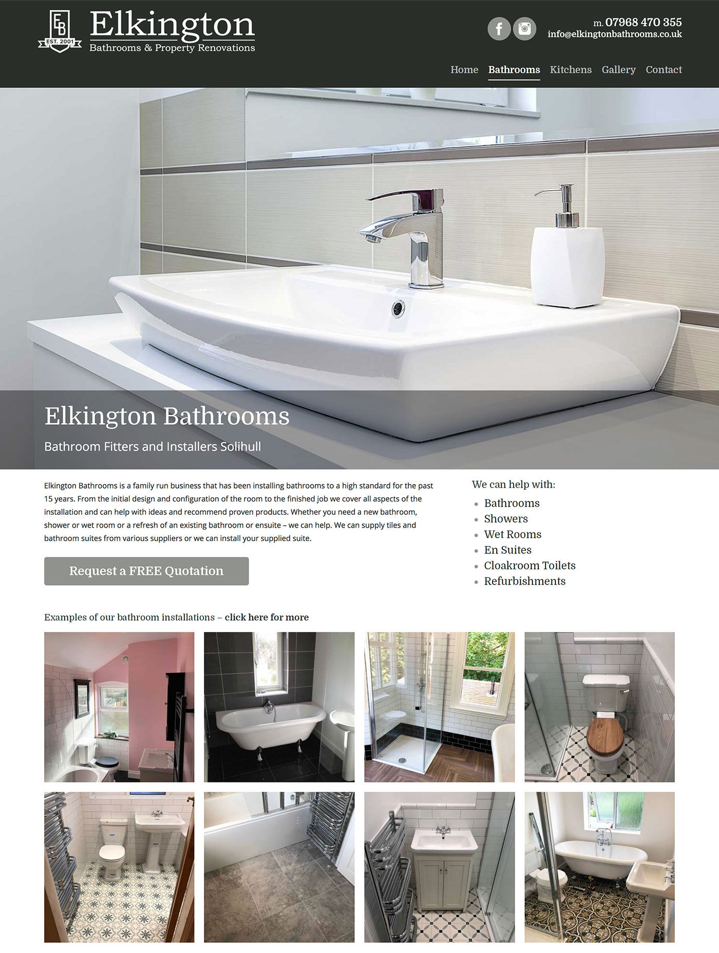 Elkington Bathrooms WordPress Website